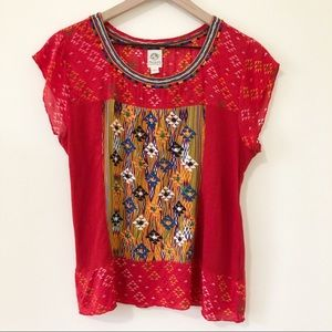 Anthropologie Tiny Red Aztec Embroidered Top